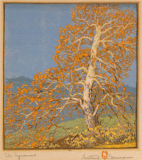 Gustave Baumann (German/American, 1881-1971) The Sycamore Woodblock in colors on paper 10-3/4 x 9