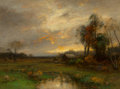 Paintings, John Francis Murphy (American, 1853-1921). Fading Sunset, 1895. Oil on canvas. 12 x 16 inches (30.5 x 40.6 cm). Signed a...