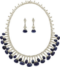 Sapphire, Diamond, White Gold Jewelry Suite  The suite includes: one necklace featuring full-cut diamonds, set in 18k wh...