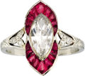 Estate Jewelry:Rings, Art Deco Diamond, Ruby, Platinum Ring, Black, Starr & Frost. The ring centers one marquise-cut diamond measuring 9.50 x 5.... (Total: 1 Item)