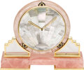 Timepieces:Clocks, Rose & Rutilated Quartz, Mother-of-Pearl, Enamel, Brass Clock, Cartier, circa 1970. Case: the footed base clock measures 6... (Total: 1 Item)