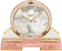 Rose & Rutilated Quartz, Mother-of-Pearl, Enamel, Brass Clock, Cartier, circa 1970  Case: the footed base clock...