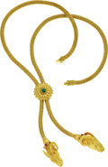 Estate Jewelry:Necklaces, Emerald, Ruby, Gold Necklace, Lalaounis. The 22k yellow goldbraided lariat features a flower centerpiece set with an emer...(Total: 1 Item)