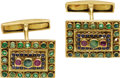 Estate Jewelry:Cufflinks, Gentleman's Emerald, Ruby, Sapphire, Gold Cuff Links, Lalaounis.Each cuff link features round-cut rubies, sapphires, and ...(Total: 1 Item)