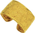 Estate Jewelry:Bracelets, Gold Bracelet. The 22k yellow gold cuff bracelet features a repoussé swirl motif. Made in Greece. Gross weight 92.60 grams... (Total: 1 Item)