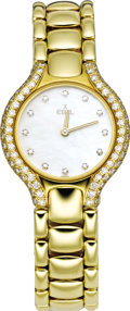 "Timepieces:Wristwatch, Ebel Lady's Diamond, Gold ""Beluga"" Integral Bracelet Watch, circa 1995. Case: 24 mm, round 18k yellow gold, set with diamo... (Total: 1 Item)"