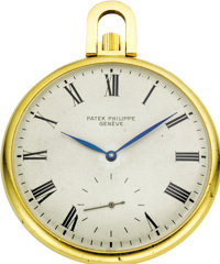 Patek Philippe Gold Openface Pocket Watch, circa 1950  Case: 47 mm, 18k yellow gold, smooth finish with plain edge and p...