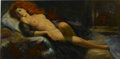 Illustration:Pin-Up, EARL MORAN (American 1893 - 1984) . Reclining Nude Red Head,original pin up illustration . Oil on canvas . 18 x 36in. ...(Total: 1 Item)