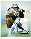 """Football Collectibles:Balls, Barry Sanders Signed and Numbered Print. Beautiful 16x20"""" signed print of the great Barry Sanders in an action pose. The li..."""