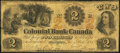 Canadian Currency, Canada Toronto, CW- Colonial Bank of Canada $2 May 4, 1859 Ch. # 130-10-02-04.. ...