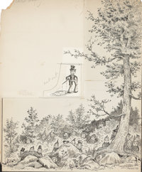 PALMER COX (Canadian, 1840-1924) Group of fifteen Brownie Book story illustrations Pen and ink on bo