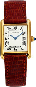 "Timepieces:Wristwatch, Cartier, 18k YG, Tank, Manual Wind, ""Paris"" Spidered Dial, Circa1970's. ..."