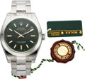 Timepieces:Wristwatch, Rolex Unused NOS Ref 116400GV Steel Oyster Perpetual Green glass Milgauss. ...