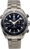 Timepieces:Wristwatch, Omega Seamaster Planet Ocean Titanium Chronograph Co-AxialAutomatic Blue Dial Men's Watch with box and papers. ...