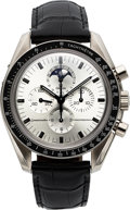 Timepieces:Wristwatch, Omega Speedmaster Professional, Fine and Rare White Gold, Chronograph Wristwatch With Registers, Date And Moon-Phases, launche...