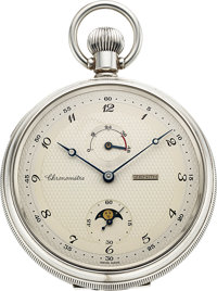 Zenith, Ref. 07.0050.148, Rare Silver Chronometer Cal. 5001K, With Moon Phases & Power Indicator, Designed By Prof...