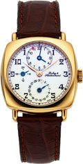 Timepieces:Wristwatch, Dubey & Schaldenbrand 18k Carre Cambre Diplomatic GMT Automaticwith Box, Outer Box and Papers. ...