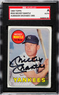 Autographs:Sports Cards, Signed 1969 Topps Mickey Mantle (Yellow) #500 SGC Authenti...