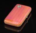 Silver & Vertu:Smalls & Jewelry, A Fabergé Partial Gilt Silver and Enamel Cigarette Case with Inset Diamond Clover, workmaster's marks for August Hollming,...