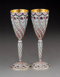 Silver & Vertu:Hollowware, A Pair of Russian Partial Gilt Silver and Enamel Wine Stems, 20th century. Marks: (Kokoshnik-88), (effaced). 8-1/4 inches hi... (Total: 2 )