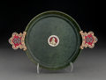 Silver & Vertu:Hollowware, A 14K Gold, Diamond, Spinach Jade, and Enamel Two-Handled Dish, 20th century. Marks: 56. 7-7/8 inches high x 11-5/8 inch...