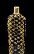 Silver & Vertu:Smalls & Jewelry, A Jeweled Bristol Blue Glass and 18K Gold-Capped Scent Bottle in the Manner of James Giles, London, England, circa 1770. 3-3...