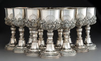 A Set of Twelve Large Rococo-Style Partial Gilt Silver Goblets, probably Mexican, 20th century Marks: STERLING