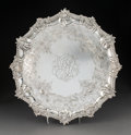 Silver & Vertu:Hollowware, An Ebenezer Coker Silver Salver with Engraved Chinoiserie Panels, London, England, 1759. Marks: (lion passant), (crowned leo...