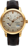 Timepieces:Wristwatch, Glashutte Original Senator Gold Automatic Calendar Moon Phase Wristwatch No 0079. ...