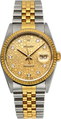 Timepieces:Wristwatch, Rolex Two Tone DateJust 16233 Factory Diamond Jubilee Dial with Diamond markers. ...