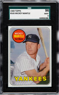 Baseball Cards:Singles (1960-1969), 1969 Topps Mickey Mantle (Yellow Letters) #500 SGC 96 Mint 9 - OnlyOne Higher. ...