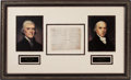 Autographs:U.S. Presidents, Thomas Jefferson and James Madison Partial Document Signed....