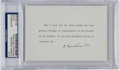 Autographs:Inventors, Albert Einstein Signed Card With a Printed Message...
