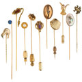 Estate Jewelry:Brooches - Pins, Multi-Stone, Diamond, Cultured Pearl, Glass, Gold, Yellow Metal Stick Pins. ... (Total: 11 Items)