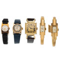 Estate Jewelry:Watches, Lady's Gold, Gold Plated, Yellow Metal Watches. ... (Total: 5 Items)