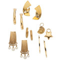 Estate Jewelry:Earrings, Cultured Pearl, Gold Jewelry Lot. ... (Total: 7 Items)