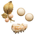 Estate Jewelry:Lots, Coral, Gold Jewelry . ... (Total: 3 Items)