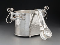 An Emilia Castillo Silver-Plated Monkey Ice Bucket with Tongs, Taxco, Mexico, late 2