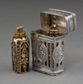 Silver & Vertu:Smalls & Jewelry, A Continental Silver Cage-Work Case with Two Bristol Blue Glass Scent Bottles, 19th century. 1-7/8 inches high (4.8 cm). ... (Total: 3 )