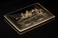 Silver & Vertu:Other Silver, An Udall & Ballou 14K Gold Cigarette Case with Equestrian Motif, New York, New York, circa 1900. Marks: 14K, 7A, U&B. 4-...