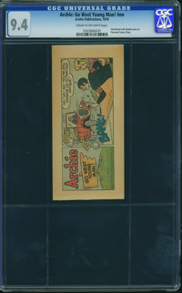"Archie Comics Fairmont Potato Chips Giveaway ""Go West Young Man"" (Archie, 1970) CGC NM 9.4 CREAM TO OFF-WHITE..."