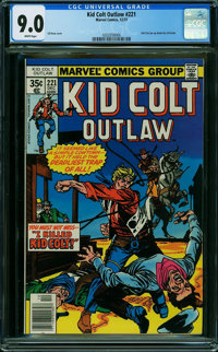 Kid Colt Outlaw #221 (Atlas/Marvel, 1977) CGC VF/NM 9.0 WHITE pages