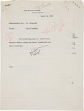 """Autographs:U.S. Presidents, Harry Truman Typed Memo Signed """"HST"""", with Enclosures...."""