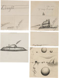 Miscellaneous, Dwight Eisenhower Group of Unsigned Pencil Sketches (12)....