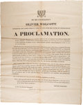Miscellaneous:Broadside, Connecticut Governors Oliver Wolcott and Henry W. EdwardsThanksgiving Proclamation Broadsides.... (Total: 2 )