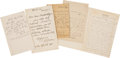 Autographs:Artists, Artists' Letters Signed: Charles Turner, George Inness, William Beard and George Boughton (2)....