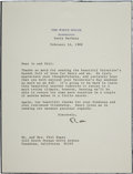 "Autographs:U.S. Presidents, Ronald Reagan Typed Letter on White House Stationery Signed ""Ron""...."
