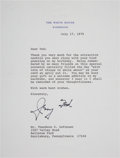 Autographs:U.S. Presidents, Gerald F. Ford Typed Letter Signed on White House Letterhead....