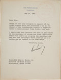 Autographs:U.S. Presidents, John F. Kennedy Typed Letter Signed ...