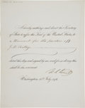 "Autographs:U.S. Presidents, Ulysses S. Grant Signed ""Affix-the-Seal"" Document...."